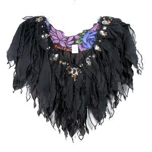 Vintage Black Chiffon Decorative Slip-Over Collar